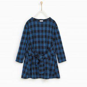 Zara girls checked shirt dress with knot